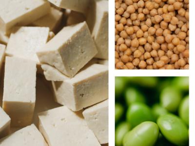 Tofu, chickpeas, edamame