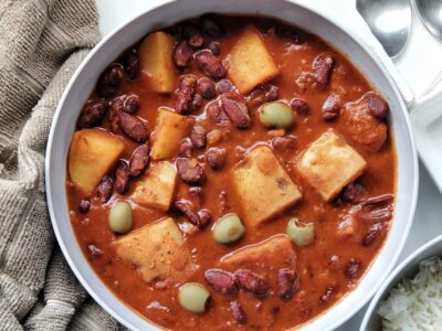 Puerto Rican bean stew with a side of white rice