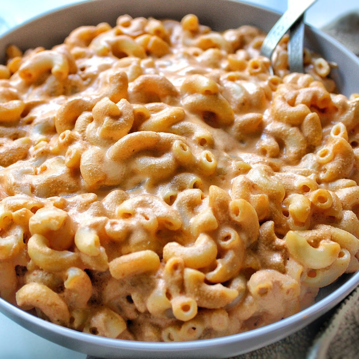Bowl of vegan macaroni and cheese.