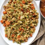 Oil-free vegetable fried rice on a serving platter