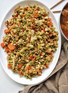 Oil-free, vegan, plant-based fried rice with vegetables and tofu