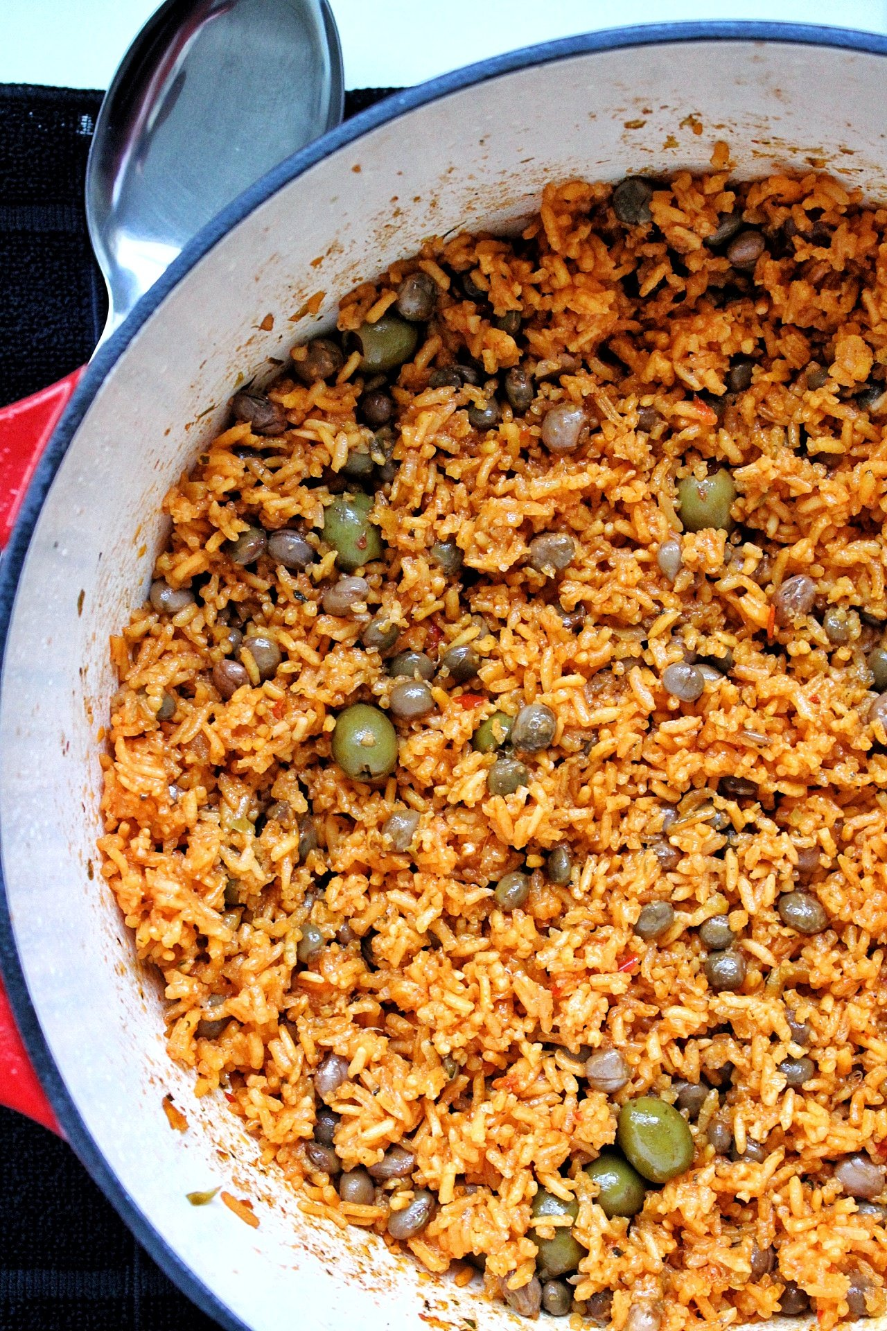 Puerto Rican yellow rice in dutch oven