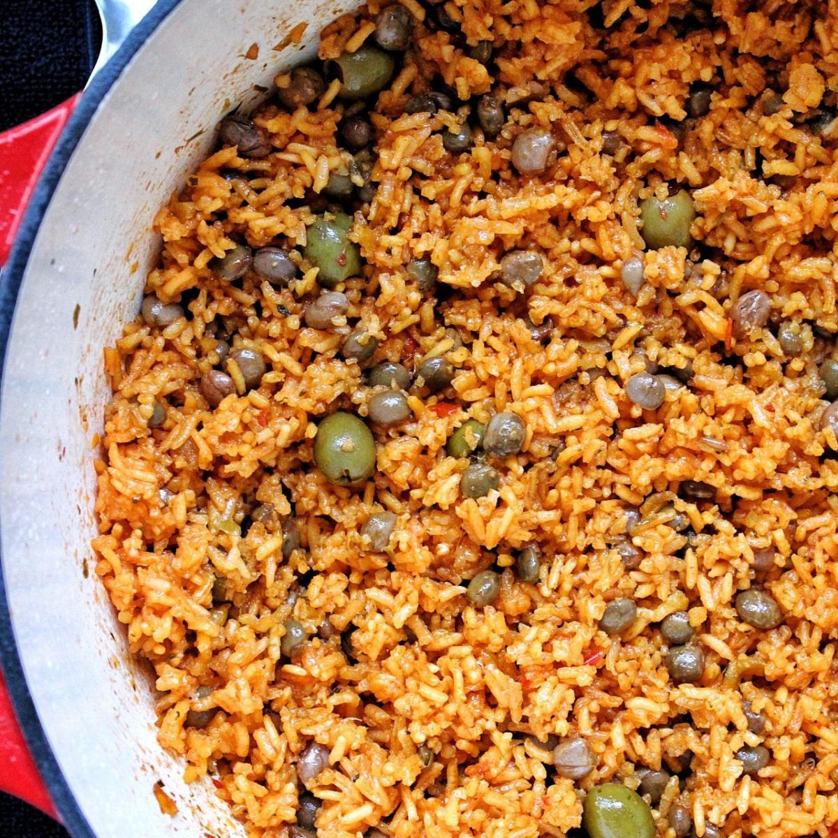 Puerto Rican yellow rice in dutch oven.