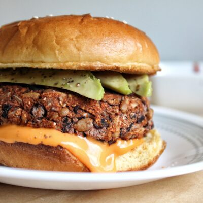 Oil-free, baked black bean rice veggie burger with avocado