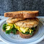Toaster oven potato cakes served as a breakfast sandwich with scrambled tofu