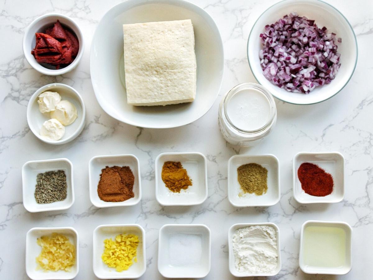 Ingredients for vegetarian tofu butter chicken.