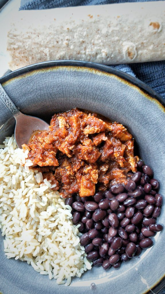 Bowl with Chipotle-style sofritas, black beans, and brown rice