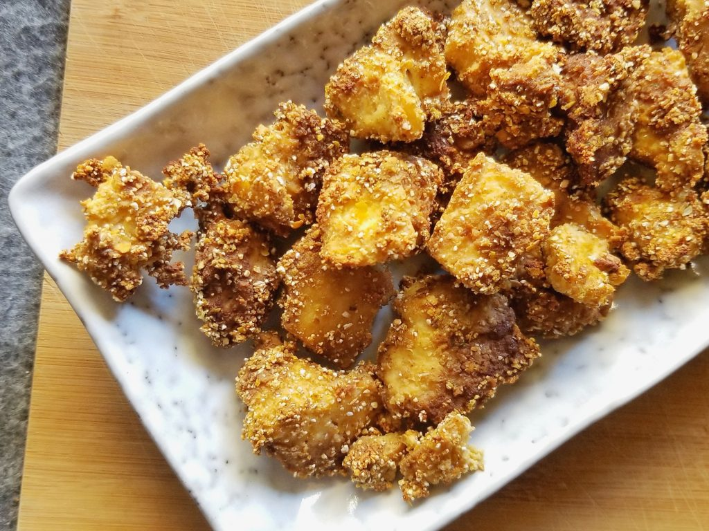 A plate of crispy tofu nuggets