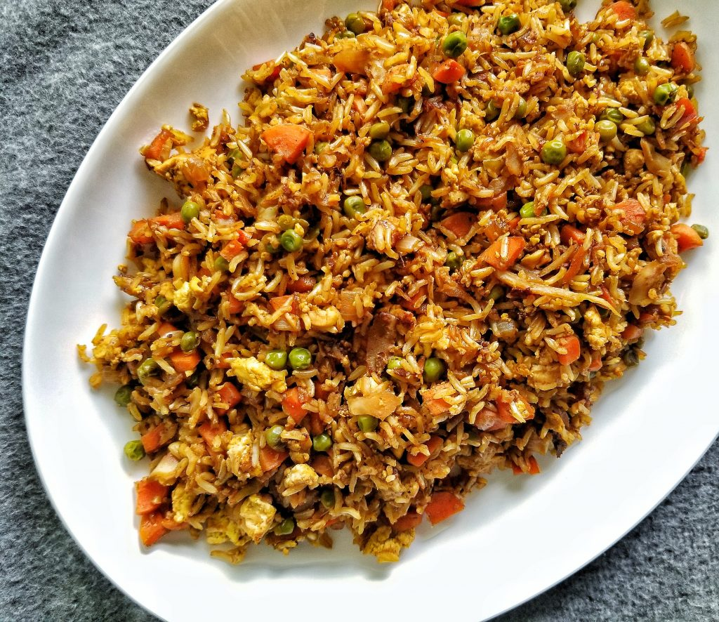 Veggie fried rice with mixed vegetables, oil-free.