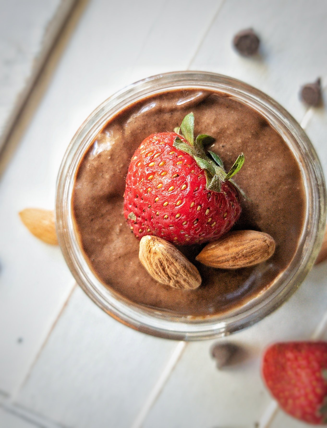 Chia see pudding made with cocoa powder and plant-based ingredients.