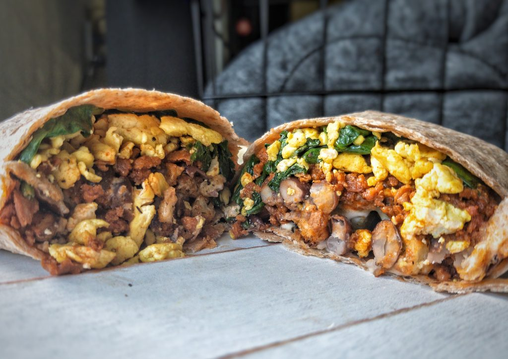 Less or fewer than 10 ingredients breakfast burritos made with juicy soyrizo, beans, tender spinach, and tofu scramble