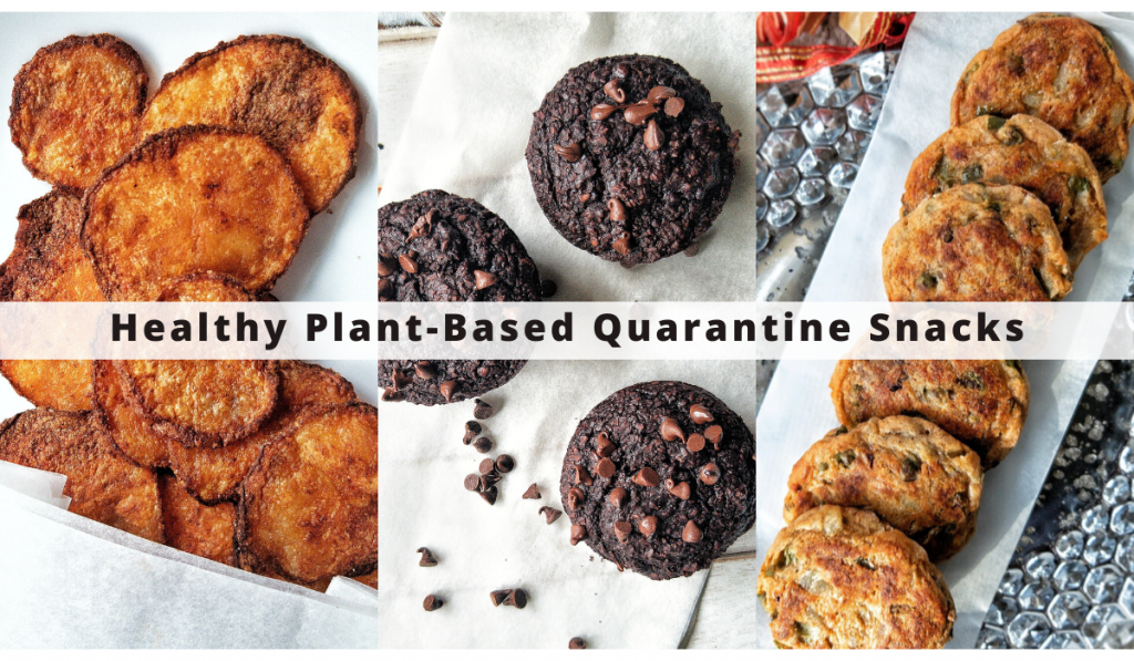 Healthy plant-based quarantine snacks work from home