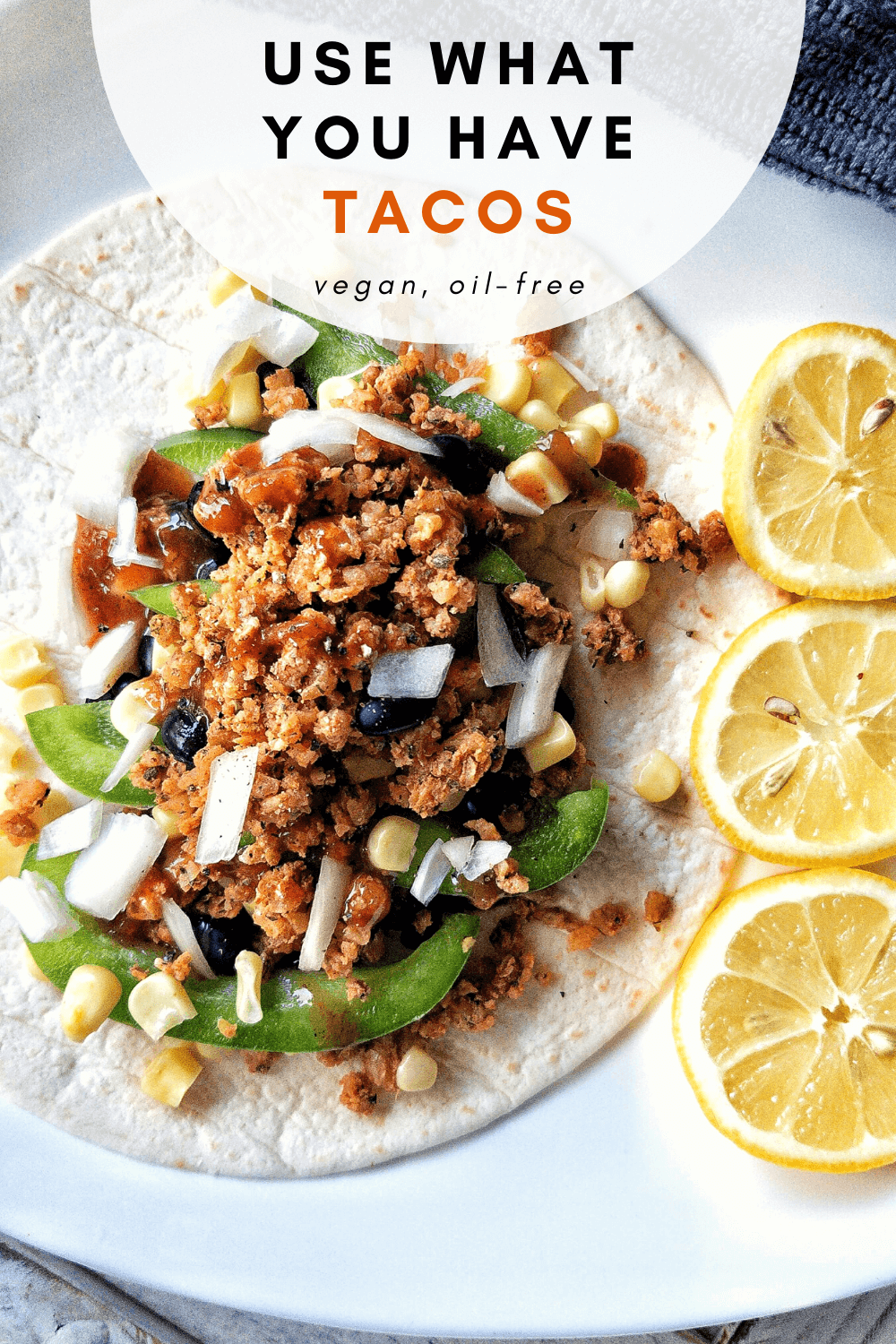 Pinnable image for Pinterest of veggie tacos