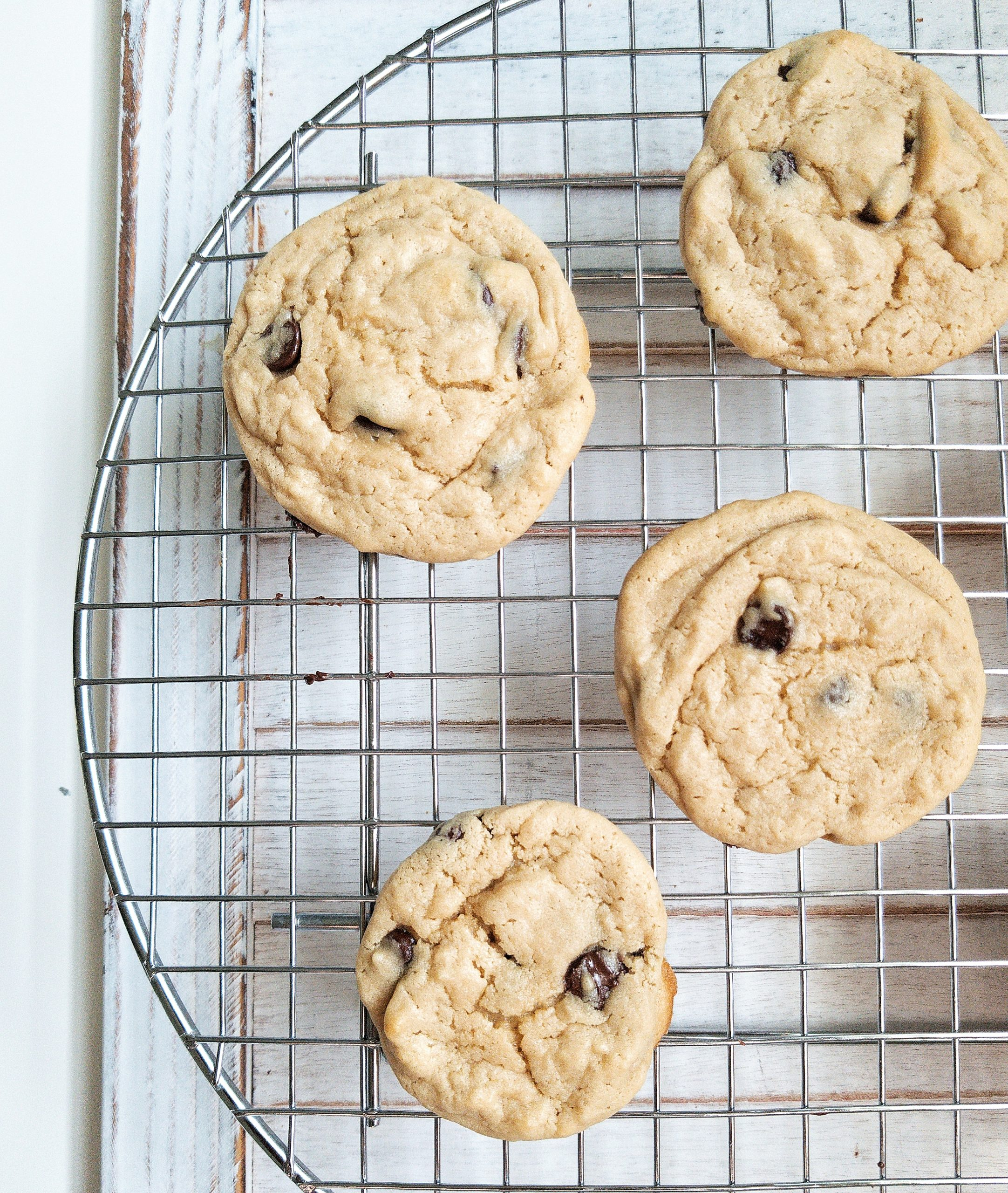 chewy fluffy vegan chocolate chip cookies