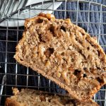 Oven-baked healthy banana nut bread with walnuts. Vegan and dairy-free.