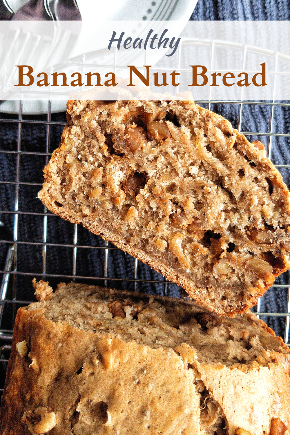 Pinnable image for Pinterest of banana bread with one slice cut