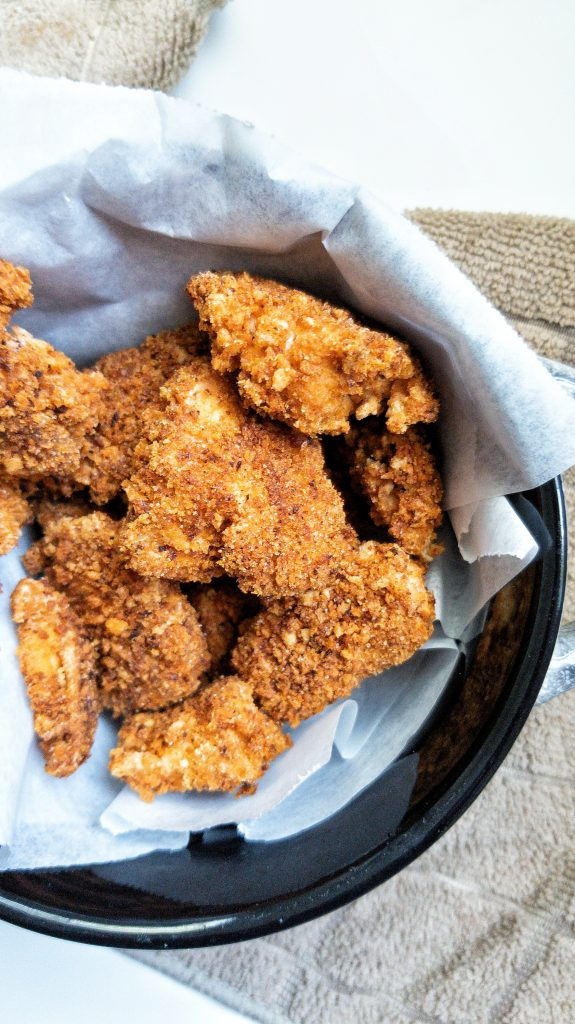 Crispy oven baked tofu nuggets coated with panko breadcrumbs