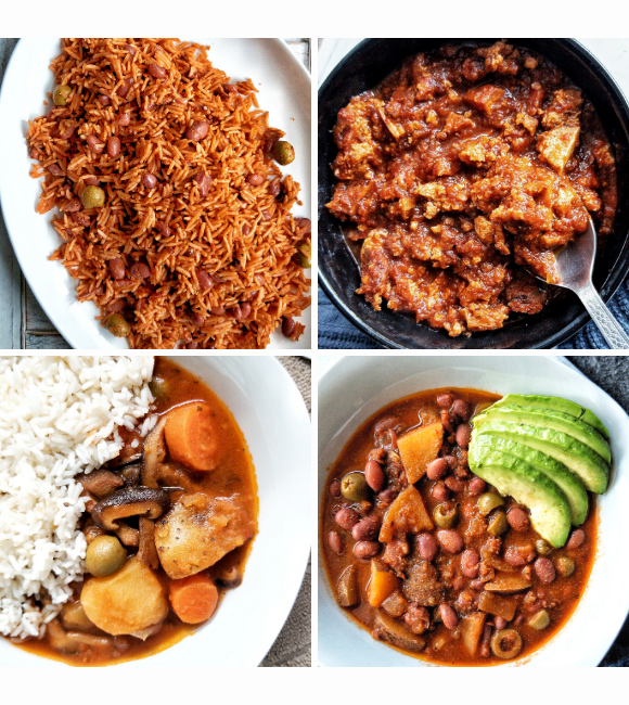 """Collage with food dishes using sofrito. First image a platter with a of Puerto Rican yellow rice cooked with beans and olives. Second image a bowl of sofritas with a spoon. Third image a side of white rice and a mushroom, carrot, and potato stew. Fourth image with a bean stew or """"habichuelas guisadas"""" with side of sliced avocado."""