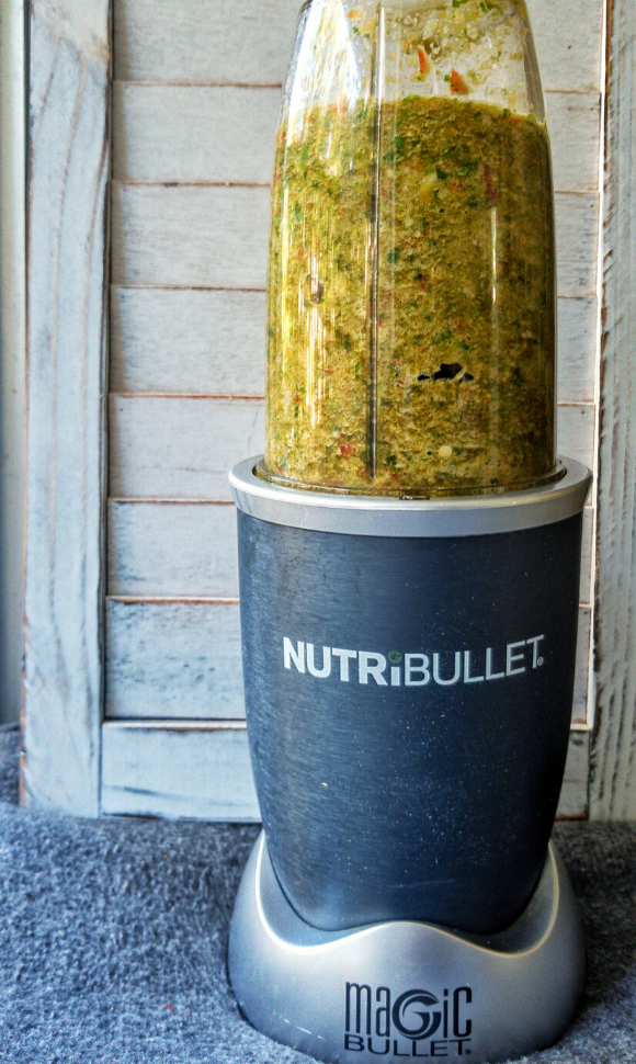 Sofrito being blended in a Nutribullet blender