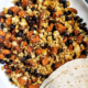 Sweet potato tofu scramble with beans and tortilla on the side.
