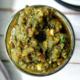 Homemade, green sofrito in a mason jar.
