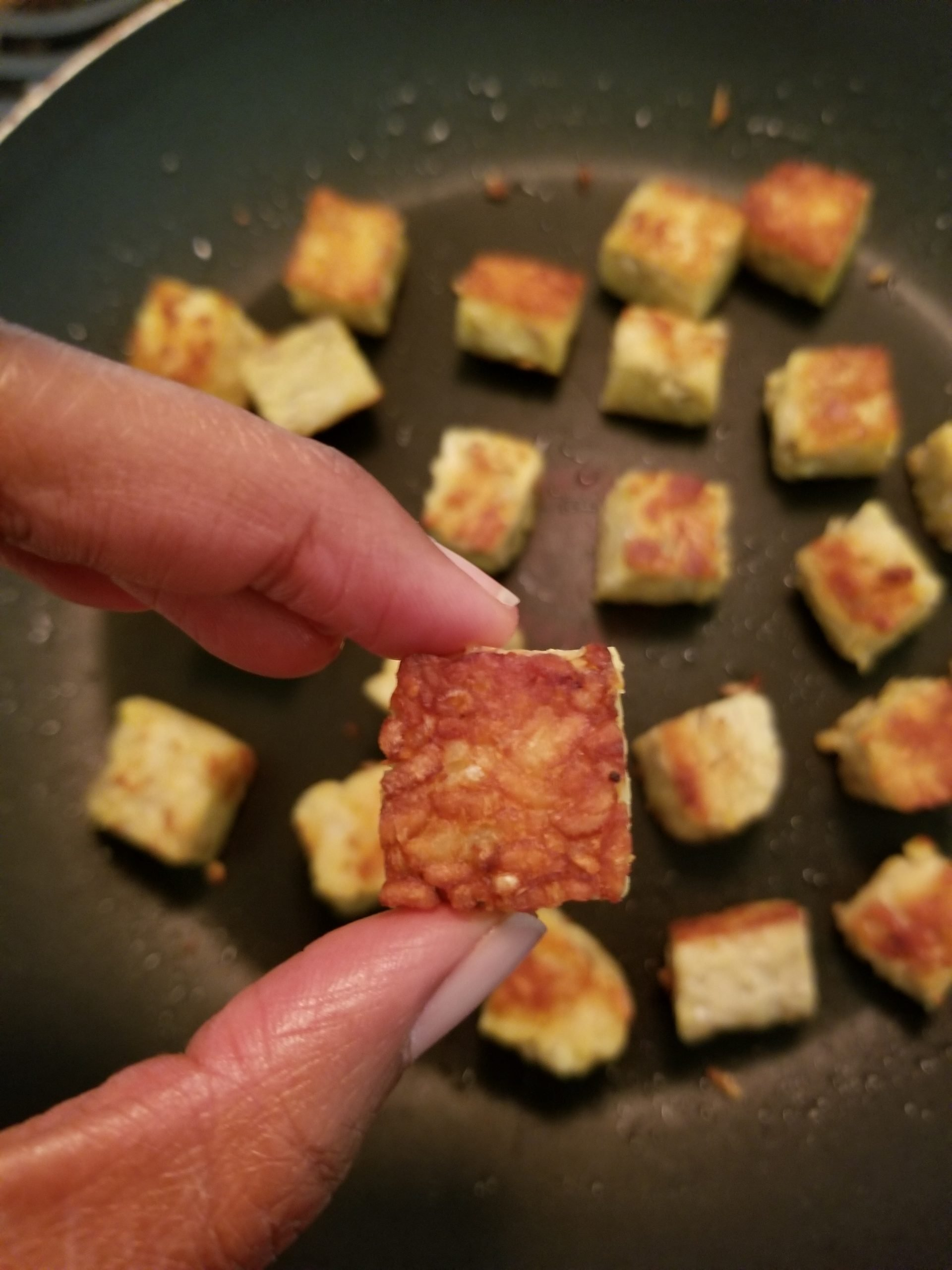 Tempeh cut into cubes and pan-fried with a bit of oil. A close up to one piece.