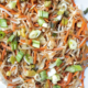 Stir fried mung bean sprouts with vegetables.
