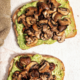 Sliced brown mushrooms on two slices of avocado toast