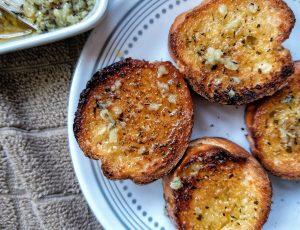 Vegan garlic butter sauce on toast