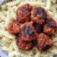 Stovetop tofu meatballs with pasta.