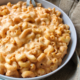 Dairy-free mac and cheese in a gray bowl