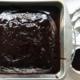 Vegan chocolate Devil's food cake in a metal cake pan