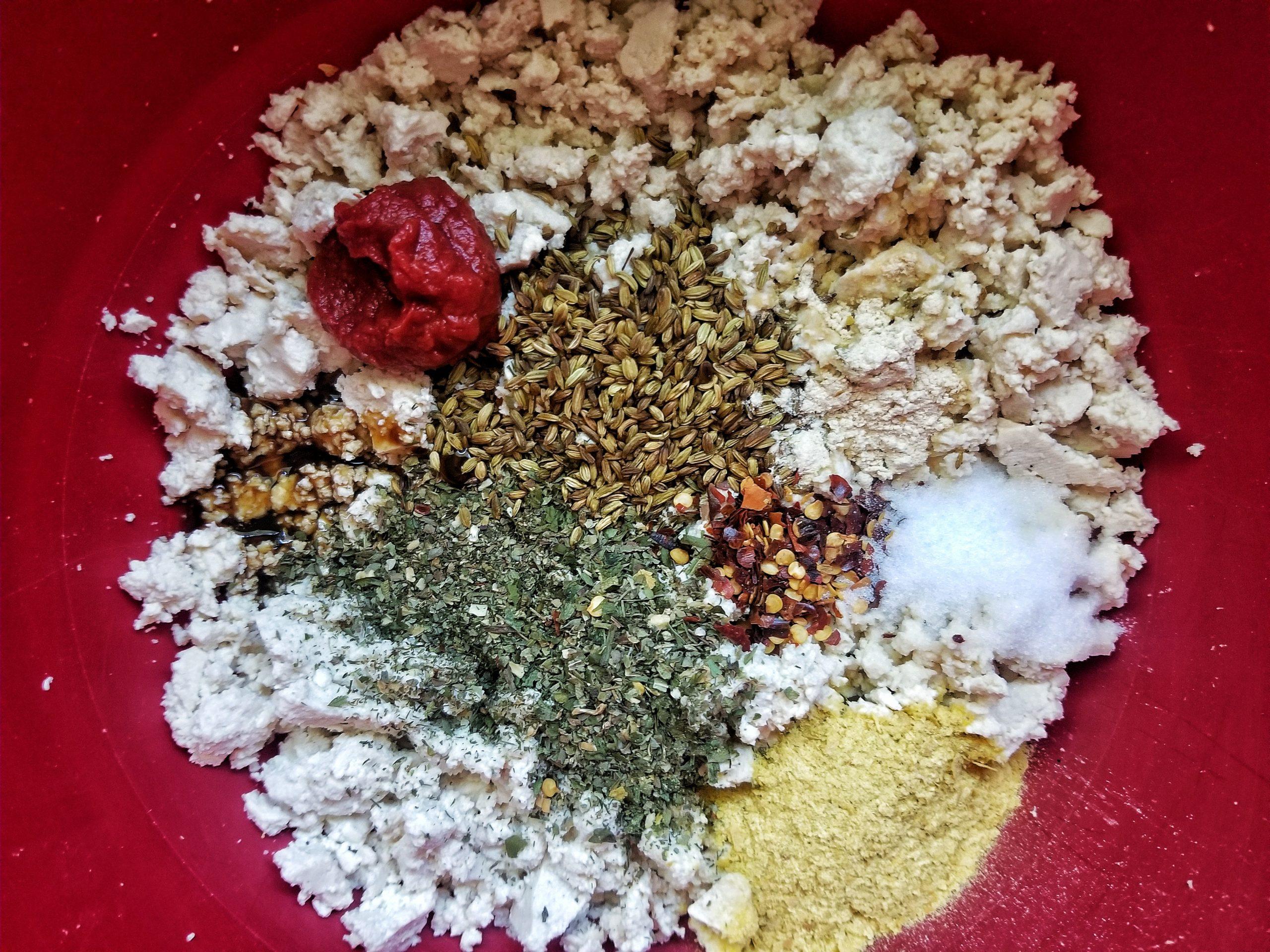 Crumbled tofu with seasonings