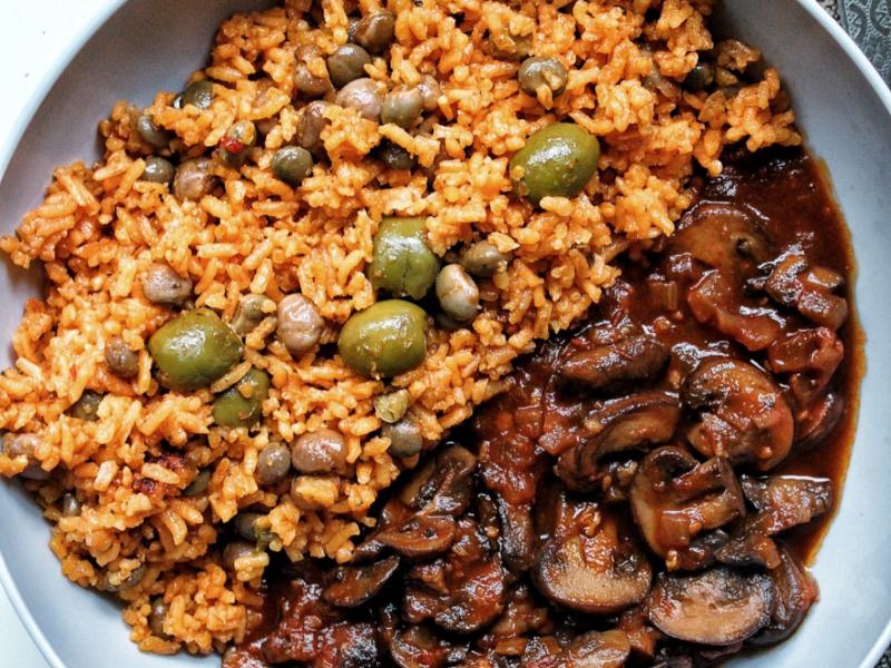 Tomato braised mushroom with Puerto Rican rice