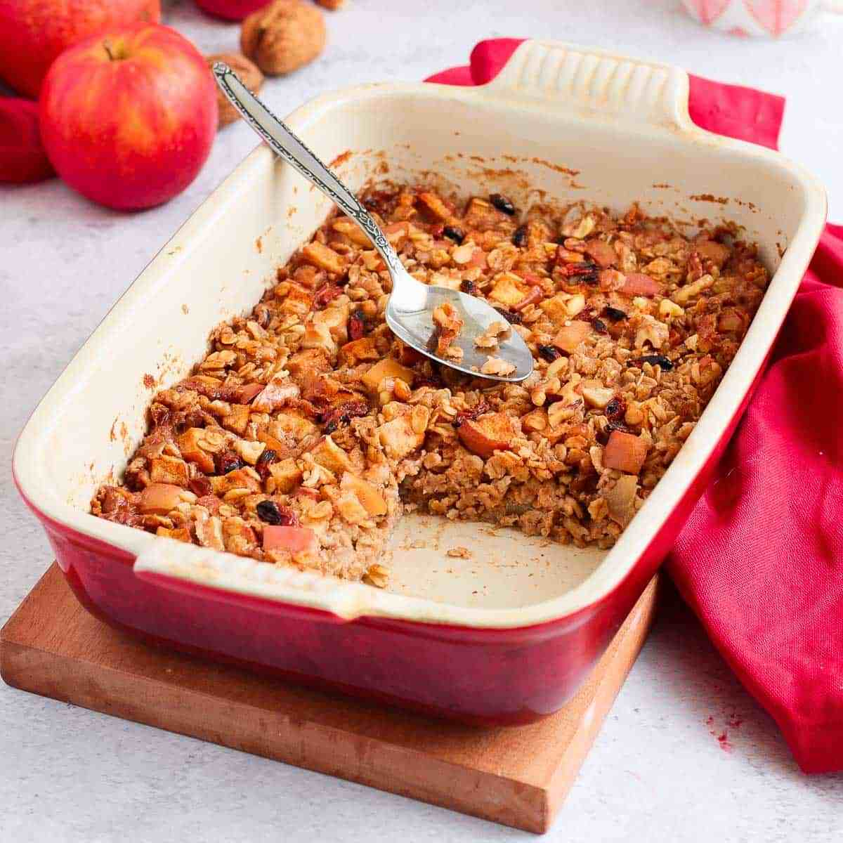 Apple cinnamon baked oatmeal in a baking dish