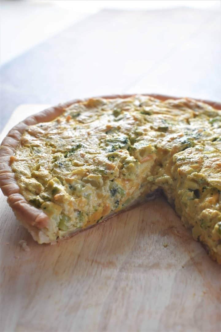 Cheese broccoli vegan quiche