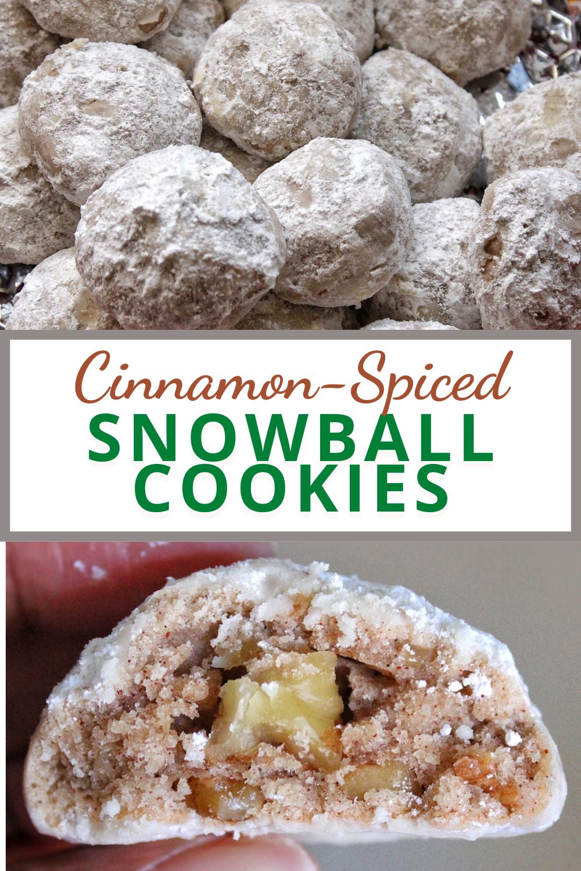 Pinnable for Pinterest cinnamon-spiced snowball cookies