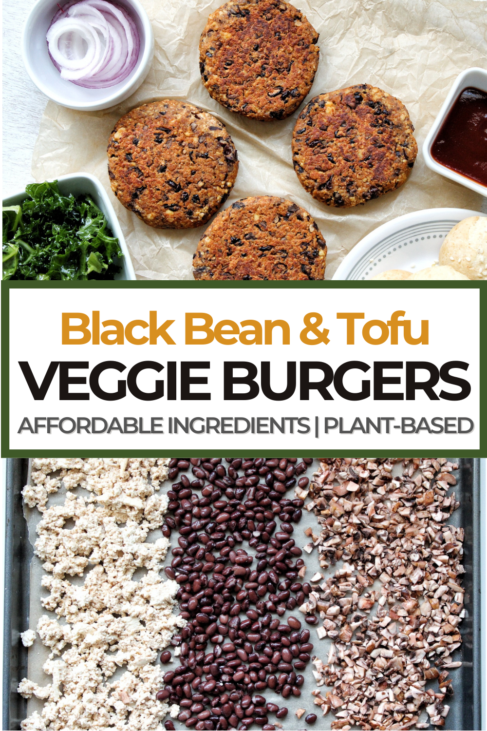 Pinnable for Pinterest black bean veggie burger