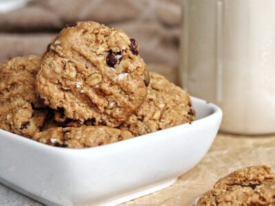 Peanut butter oatmeal cookies with a side of vegan milk
