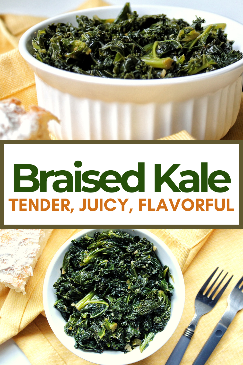 Garlicky, tender braised kale made with fresh garlic and broth.