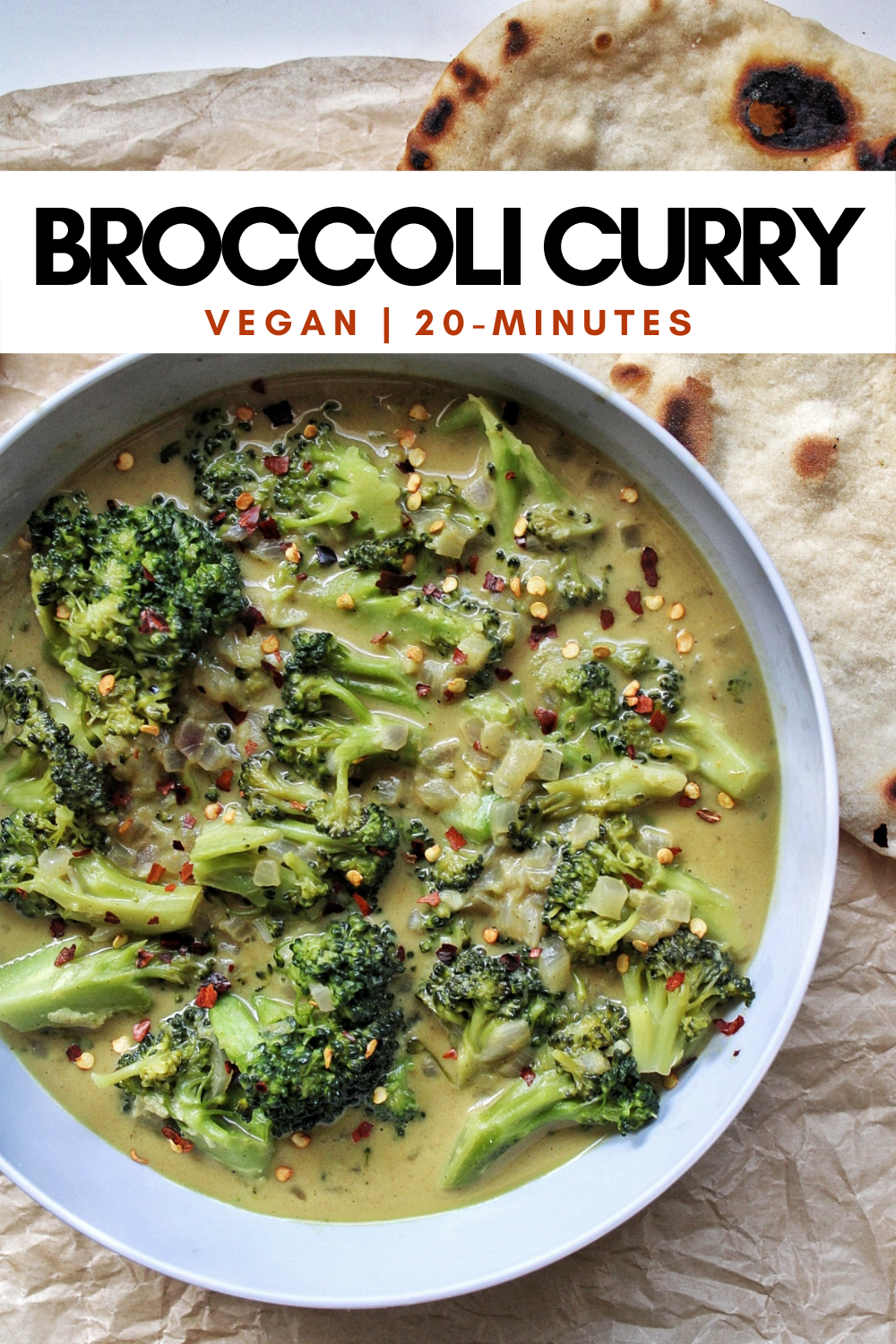 Pinnable for Pinterest. Bowl of broccoli curry.