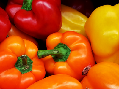 Red, orange, yellow bell peppers