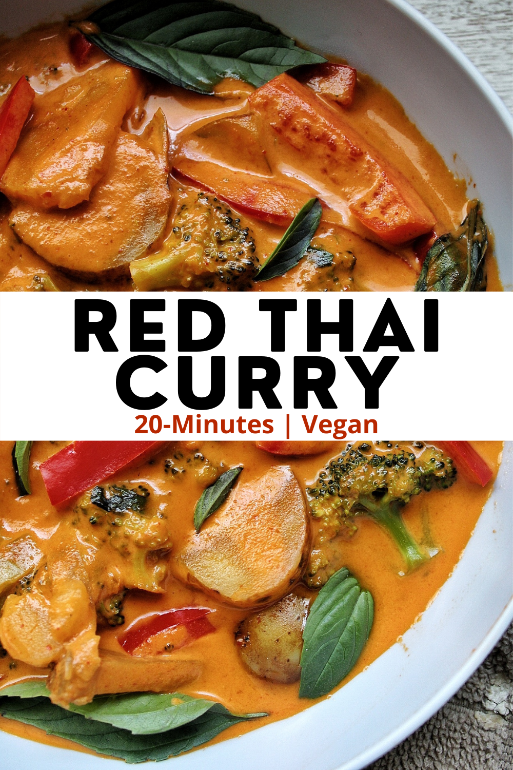 Veetable red thai curry with broccoli, potatoes, and red bell peppers.