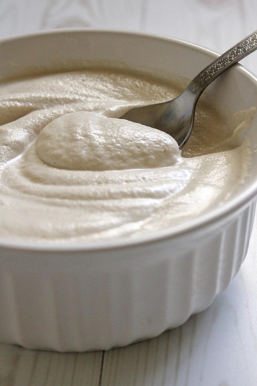 Cashew cream sauce in a bowl.