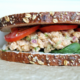 Chickpea salad sandwich on a seeded bread