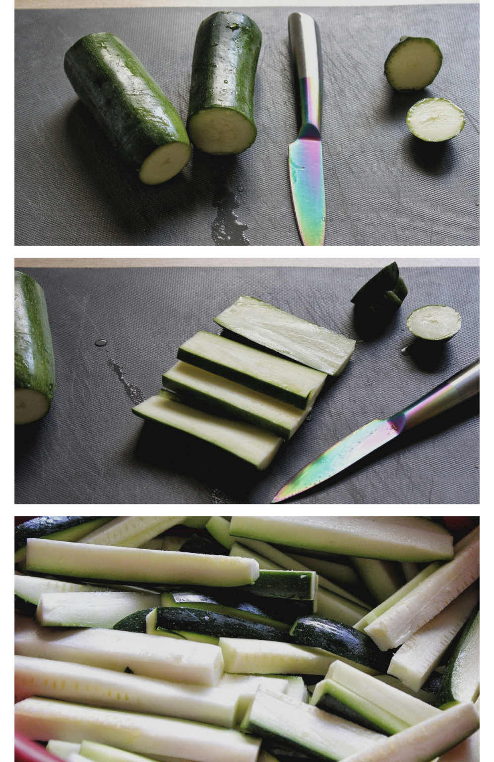 Collage with steps showing how to cut zucchini into fries