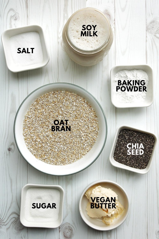 Oat bran, salt, soy milk, baking powder, chia seeds, vegan butter, sugar.