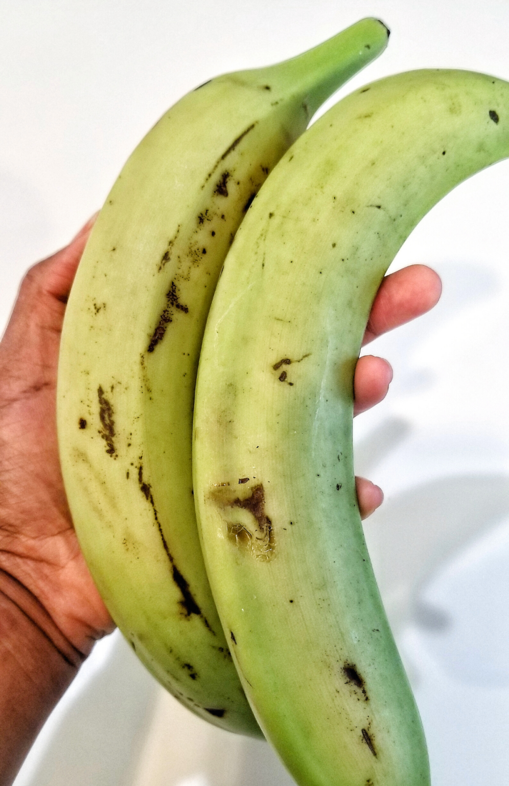 Two green plantains.