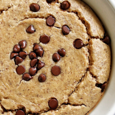 Protein baked oats topped with vegan chocolate chips.